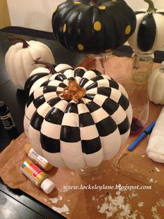 Locksley Lane: MacKenzie-Childs Look A Like Pumpkins - Crafts-Fall, Painted Pumpkins,Decorating, Table scapes, Centerpieces - Diy Pumpkin, Pumpkin Crafts, Fall Crafts, Pumpkin Carving, Holiday Crafts, Pumpkin Painting, Pumpkin Ideas, Pumpkin Designs, Pumpkin Topiary
