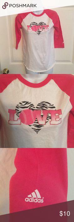 Adidas Girls 3/4 Sleeve Softball Tee Sz L Softball love Maybe worn once adidas Shirts & Tops Tees - Long Sleeve
