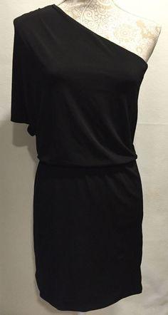 White House Black Market Women's Black Cocktail Off One Shoulder Dress Size 0…