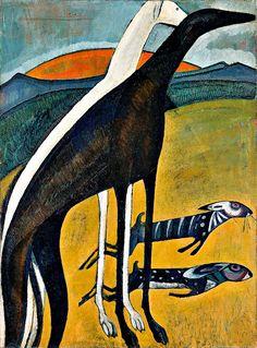 """ruihenriquesesteves: """" 'Galgos' (The Greyhounds), Amadeo de Souza Cardoso (1887-1918), Paris, 1911 """""""