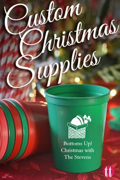 Easy, stress-free Christmas party supplies. Custom printed disposable party tableware, decorations, cups, plates, and napkins.  You'll be breathing a sigh of relief come clean-up time and your guests will love the personalized touch.  See more at http://www.tippytoad.com/christmas.asp