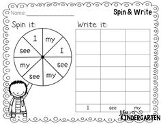 spin and write sight words