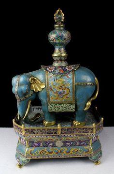 Chinese Qing Gilt Cloisonne Enamel Bronze Elephant