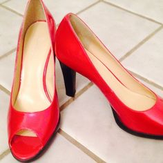 Classic Collection Red Heels by Chadwick's Lovely Open Toed Classic Collection Red Heels by Chadwick's. Size 10W with a 3 1/2 inch heel. Chadwicks Shoes Heels