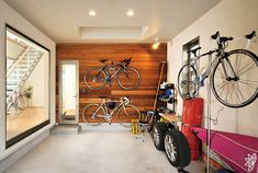 Loft House, Garage House, Diy Garage, Bike Room, Gym Room, Bike Storage, House Entrance, Japanese House, Black House