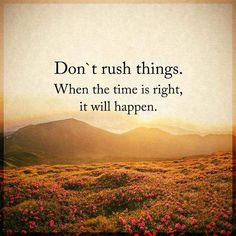 awesome Inspirational Life Quotes About Success Don't Rush Things, When Right Time It Will
