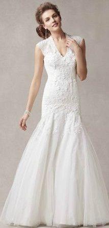 Melissa Sweet Cap Sleeve Trumpet Lace Gown Style MS251005 #davidsbridal #fallwedding #weddingdress