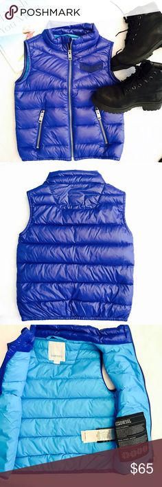 Diesel Boys Puffer Vest Soft and light weight puffer vest by Diesel for little boys.  Beautiful royal blue on outside and turquoise on inside.  Size 6 boys.  Silver zipper, two zipper pockets in front.  100% nylon. New without tags, never worn 💕💕💕 Diesel Jackets & Coats Vests