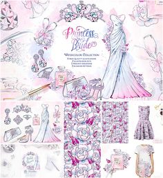 Princess Bride wedding illustrations set