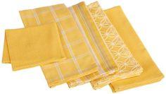 DII 100-percent Cotton, Machine Washable 5-Piece Basic Dishtowel Set, Includes 4 Dishtowels and 1 Dishcloth, Oversized, Mustard