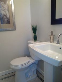 """This bathroom was converted from a walk in closet measuring approx 4""""x5"""" to a two piece master bath. Pedestal sink gives the feeling of more space without feeling cramped. Real Estate in Meridian, Idaho"""