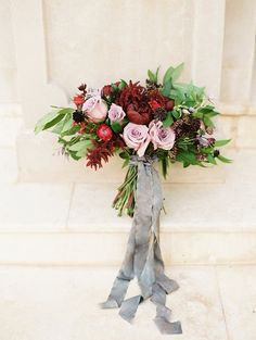 Jewel Toned Bouquet in Burgundy and Mauve | Jessica Gold Photography on @heyweddinglady via @aislesociety