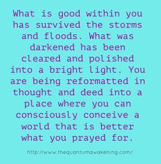 What is good within you has survived the storms and floods... http://www.thequantumawakening.com