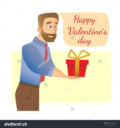 Man gives a gift. Valentines day flat vector illustration. Stock photography, images, pictures, Illustrations.  Valentines Day Images Download. Valentine photography for lovers. Valentine pictures romantic. Photo for valentines day. Happy valentines day.