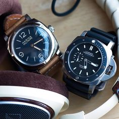 Two opposite ends of the #Panerai works, each with their own unique beauty. PAM587 Marina Militare and PAM389 Titanium Submersible with Ceramic Bezel. Pic by my good friend @watchmania