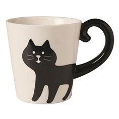 "Decole ""Concombre"" Cat Tail Mug Cup (Black Cat): Coffee Cups & Mugs"