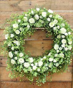 White Roses Wreath Spring Wreath Summer Wreath by DaisyMaeBelle