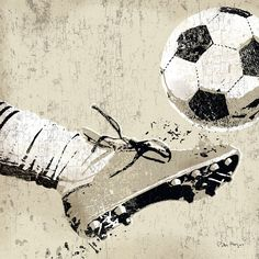 Vintage style wall art of an old distressed soccer cleat and foot striking soccer ball on tan and sepia background. Vintage Soccer Strike Wall Art by Peter Horjus from Great BIG Canvas. Soccer Decor, Soccer Art, Kids Soccer, Soccer Sports, Soccer Poster, Soccer Books, Soccer Cleats, Football Art, Paintings