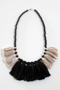 Tassel Necklace Black and White Statement by madijanehandmade