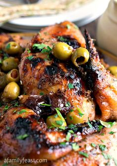 Chicken Marbella - A delicious recipe adapted from classic version featured in The Silver Palate Cookbook. Roasted chicken with a fantastic sweet and sour Mediterranean-inspired flavor! So good and so easy to make too!