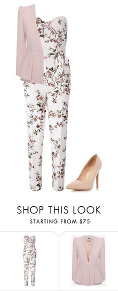 """Casually Fancy"" by reelha ❤ liked on Polyvore featuring Miss Selfridge, Alexander McQueen, Dorothy Perkins, floral, jumpsuits and blushpink"