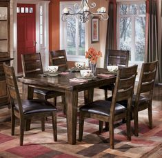 Larchmont Rectangular Leg Table Table Dining Room Set by Ashley - Home Gallery Stores