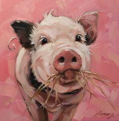 "Pig painting, Original impressionistic oil painting of a sweet little piggy chomping on hay. 6x6"" on panel, pig artwork, pigs by LaveryART on Etsy"