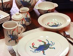 Blue Crab pattern ceramic pottery from Emerson Creek Pottery (made in the USA)