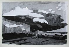 Over Lost Dog Hill Original Acrylic Landscape Collage on