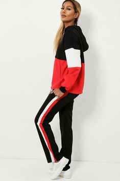 Red Side Stripe Old School Tracksuit Retro Lounge Sets Joggers Hoody UK Retro Lounge, Hoody, Old School, Online Price, Joggers, Red, Fashion, Moda, Runners