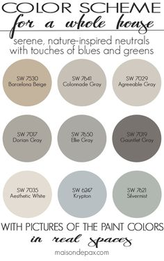 Paint Color Home Tour: Nature-Inspired Neutrals - Maison de Pax A color scheme for a whole house! See paint colors in real spaces in this home tour full of lovely, nature-inspired neutrals with touches of blues and greens Farmhouse Paint Colors, Exterior Paint Colors, Paint Colors For Home, Natural Paint Colors, Rustic Paint Colors, Paints For Home, Paint Colours, Best Bathroom Paint Colors, Best Neutral Paint Colors