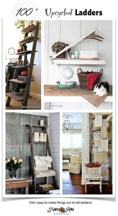 PJ 271 - upcycled ladders! Over 100+ crazy cool ladder ideas that are easy to make! Because a ladder CAN be anything after all...