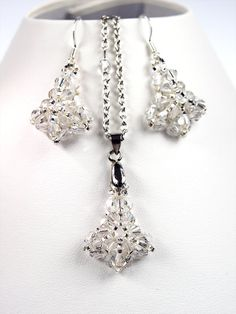 Reversed tulip  Beaded Swarovski Crystal Jewelry set  by Florist
