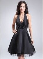 A-Line Princess Halter Knee-Length Satin Tulle Cocktail Dress With Ruffle Beading