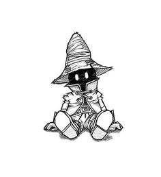 Vivi by Simonpdv Final Fantasy Tattoo, Fantasy Tattoos, Final Fantasy Ix, Final Fantasy Artwork, Cartoon Sketches, Cartoon Art Styles, Art Sketches, Sketch Drawing, Dark Art Drawings