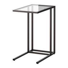 IKEA - VITTSJÖ, Støtte til bærbar computer, sortbrun/glas, , Hærdet glas og metal er slidstærke materialer, der gør indretningen åben og luftig.