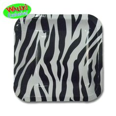 Black Zebra Print Square Paper Lunch Plates 8ct | Wally's Party Factory #zebra #black #white #plate