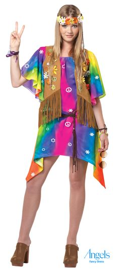 Step back to the swinging sixties in this far out Hippy fancy dress costume. Everything you need to look like your high on life is included in this gnarly pack. Multi coloured dress decorated with universal signs of peace, brown fringed waist coat with an assortment of daisy pins for flower detail, a daisy head tie and a belt. http://www.fancydress.com/costumes/Groovy-Girl-Teen-/0~4516395~349