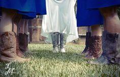 Very #country wedding photo idea: Bride & bridesmaids in cowboy boots.