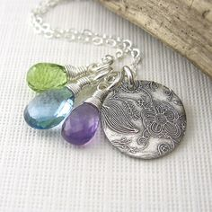 Handmade Charm Necklace, Peridot, London Blue Topaz, Amethyst and Sterling Silver - Tag