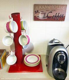 DIY: porta-xícaras barato e fácil de fazer - Casinha Arrumada