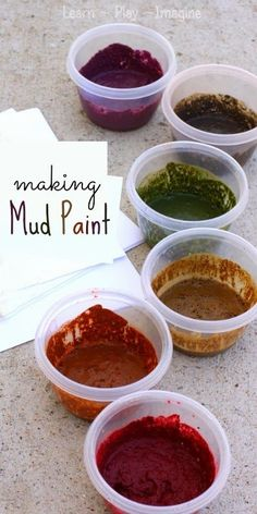 Painting with real mud. How to make mud paint in bold colors, such a cool sensory art project for spring! Painting with real mud. How to make mud paint in bold colors, such a cool sensory art project for spring! Nature Activities, Spring Activities, Naidoc Week Activities, Forest School Activities, Kids Outdoor Activities, Camping Activities, Kids Outdoor Crafts, Outdoor Play Ideas, Activities For 6 Year Olds