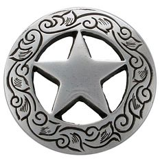 """F9703 SRTP 1 1/2"""" STERLING SILVER FINISH ENGRAVED Ranger Star CONCHOS Saddles, Leather Craft, Ranger, Craft Projects, It Is Finished, Horses, Stars, Sterling Silver, Unique Jewelry"""