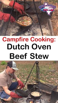 Campfire Cooking: Dutch Oven Beef Stew We love cooking outdoors when we are camping! In this post, w Fire Cooking, Oven Cooking, Outdoor Cooking, Camping Menu, Camping Dishes, Camping Recipes, Camping Cooking, Camping Ideas, Camping Stuff