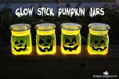 Glow Stick Pumpkin Jars