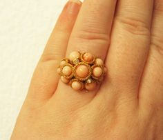 Vintage Avon Peach Bubble Ring - Size 7.5 Gold - Vintage Jewelry by FembyDesign, $23.99