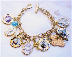 Religious Saint Medal Charm Bracelet