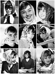 Audrey Hepburn and her scarf Audrey Hepburn Mode, Aubrey Hepburn, Head Scarf Styles, Classic Beauty, Classic Style, Classy Women, Classy Lady, Old Hollywood, Hollywood Sign
