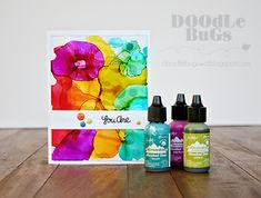Place a drop on a piece of clear acrylic, and blow with the Marker Spritzer from Tim Holtz. Repeat multiple times with various colors. Card Making Tips, Card Making Tutorials, Card Making Techniques, Making Ideas, Art Techniques, Alcohol Ink Crafts, Alcohol Ink Painting, Alcohol Ink Art, Alcohol Markers