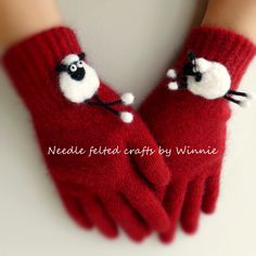 Needle felted hand crafted sheep on Red New Zealand possum and merino gloves Size SMALL by FunFeltByWinnie on Etsy